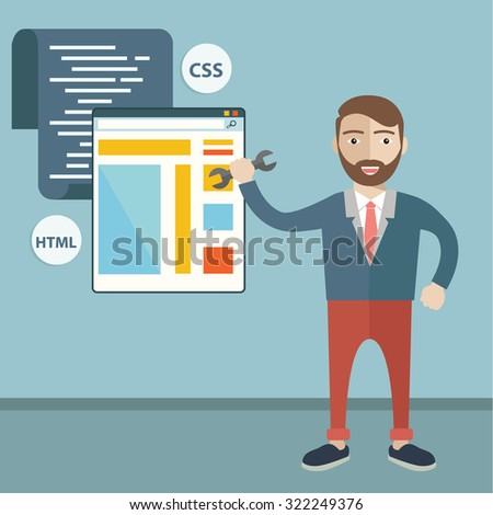 Concept of programmer or coder workflow for website coding and html programming of web application - stock vector