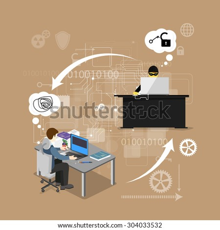 concept of protection against hacking - stock vector