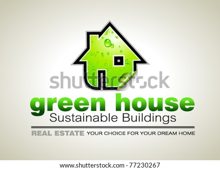 Concept of REAL ESTATE Ecology constructions Flyer - stock vector