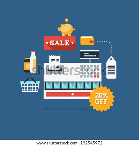 Concept of retail commerce in market, sales and marketing elements such as coupon, discount, tags with shopping and money sign and symbol. Flat design style modern vector illustration.  - stock vector
