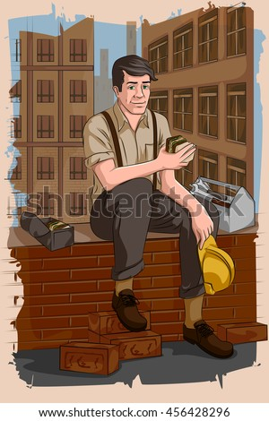 Concept of retro mechanic taking lunch. Vector illustration