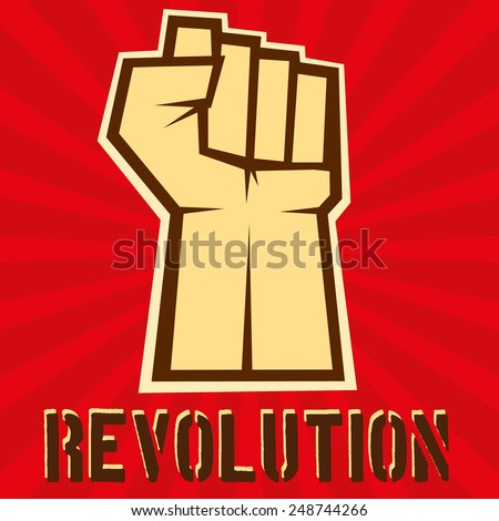 Concept of revolution. Hand up on red background, vector illustration