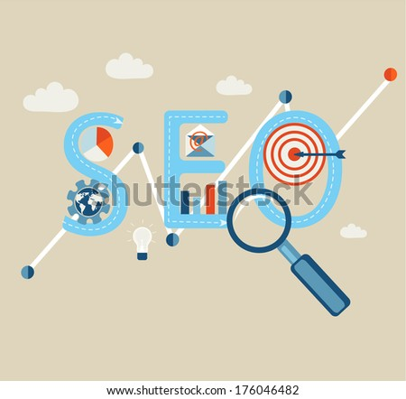 Concept of SEO word combined from elements and icons which symbolized a success internet searching optimization process. Vector. - stock vector
