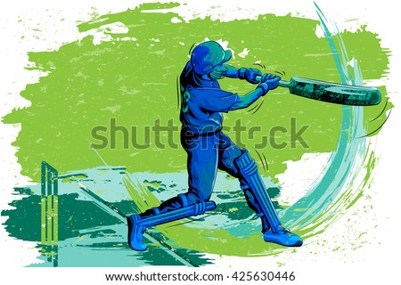 Concept of sportsman playing Cricket. Vector illustration - stock vector