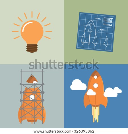 Concept of Startup development and launch on market - stock vector