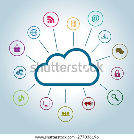 Concept of storage and file access in cloud computing - stock vector