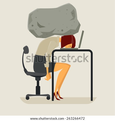 Concept of stress businesswoman with a rock on the head. Vector, Illustration. - stock vector
