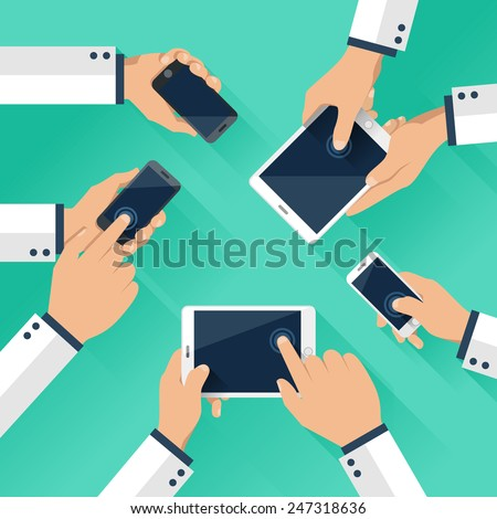 Concept of team of business using tablet and smart phone with mobile phone - stock vector