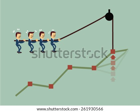 Concept of teamwork and corporate profit - stock vector