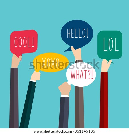 Concept of teamwork and integration with businessman holding colorful Speech Bubbles. Hands with Social Media Words. Vector illustration. - stock vector