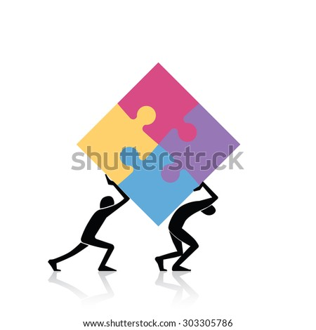 Concept of teamwork - two figures carrying finished puzzle - stock vector