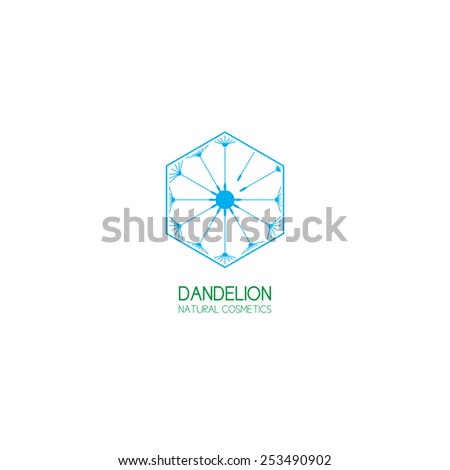 Concept of template logo dandelion. Symbol of natural cosmetics. - stock vector