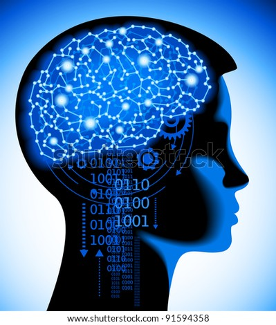 concept of the contemporary thinking of the child,studying of computer science - stock vector