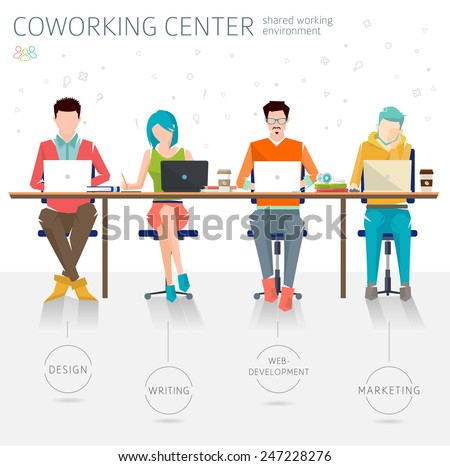 Concept of the coworking center. Shared working environment. Various people talking and working  at the computers in the open space office. Different professions are united. Flat design style.  - stock vector