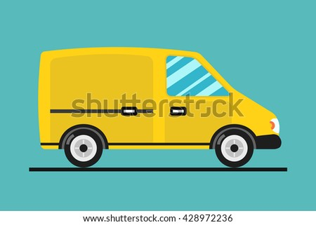Concept of the delivery service. Illustration of van fast shipping. Flat vector Truck.