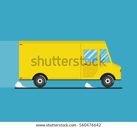 Concept of the shipping service. Truck van of delivery rides at high speed. Flat vector illustration.