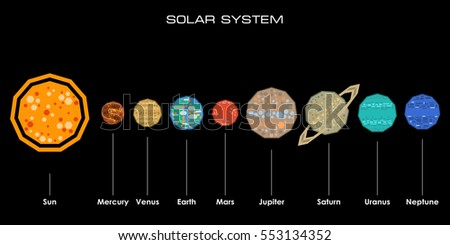concept solar system simple shapes on stock vector royalty free