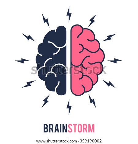 Concept of the thinking process, brainstorming, good idea, brain activity, insight. Flat line vector icon illustration design for your web design and print - stock vector