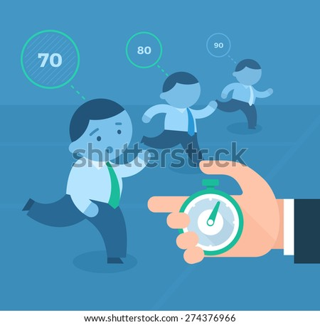 Concept of tracking business competitors. Businessmen run on the track with abstract  data above them. The hand measures the data on the stopwatch - stock vector