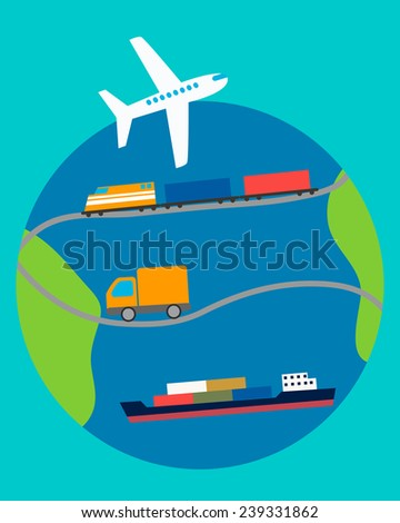 Concept of transportation. Truck, plane, ship and train on the background of the planet. Vector illustration