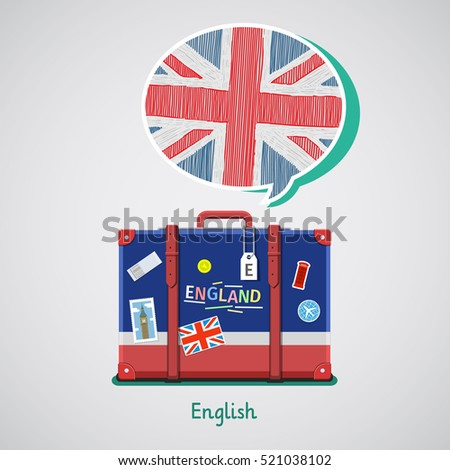 Concept of travel or studying English. Hand drawn English flag in speech bubble above suitcase with English symbols.