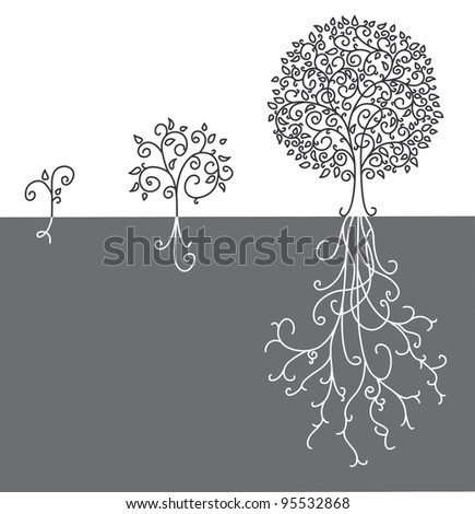 Concept of tree growing up - stock vector