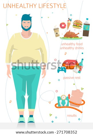 Concept of unhealthy lifestyle / fat man with his bad habits / vector illustration / flat style - stock vector