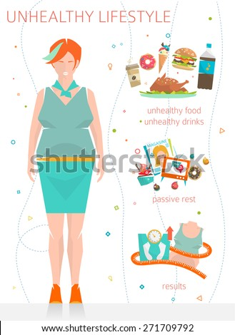 Concept of unhealthy lifestyle / fat woman with her bad habits / vector illustration / flat style - stock vector