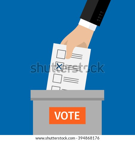 Concept of voting. Hand putting voting paper in the ballot box. Flat design, vector illustration. - stock vector