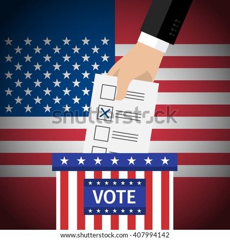 Concept of voting. US Presidential election 2016. Hand putting voting paper in the ballot box. Flat design, vector illustration. - stock vector