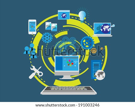 Concept of Web Designing and development shown with flat icon collection - stock vector
