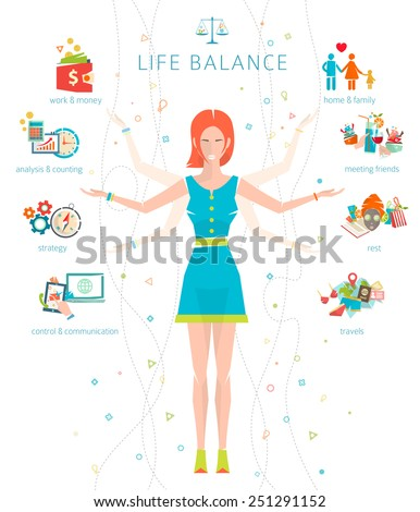Concept of work and life balance / dividing of human energy between important life spheres / Vector illustration.  - stock vector