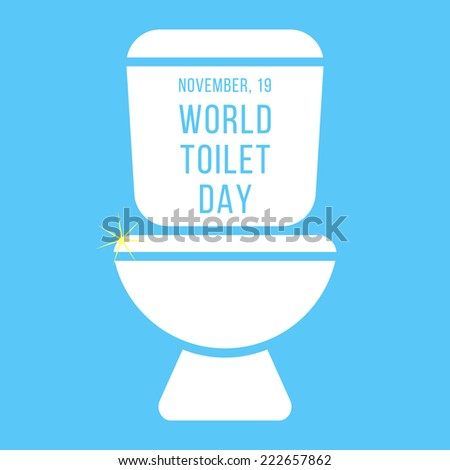 concept of world toilet day with inscription on tank. isolated on blue background. modern vector illustration - stock vector