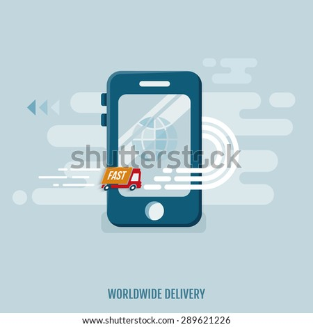 Concept of worldwide delivery. Truck icon with mobile. Flat design. Vector Illustration.