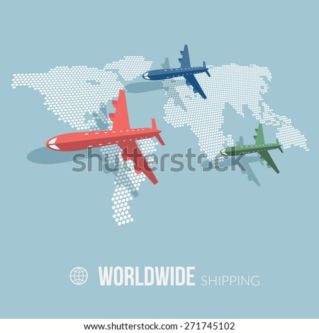 Concept of worldwide shipping around the world. Airliners on world map background. Flat design. Vector Illustration.  - stock vector