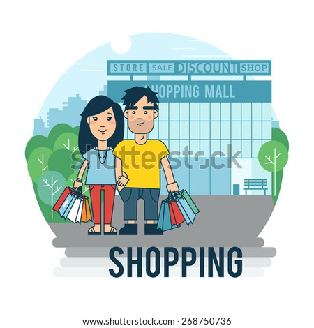 Concept on the subject of shopping. - stock vector
