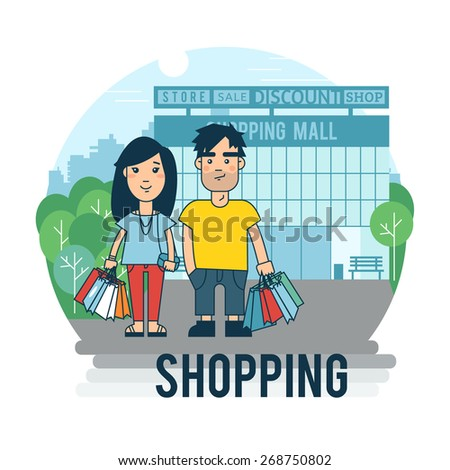 Concept on the subject of shopping. Family shopping - stock vector