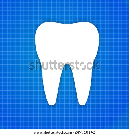 Concept one white tooth on the blueprint paper - stock vector