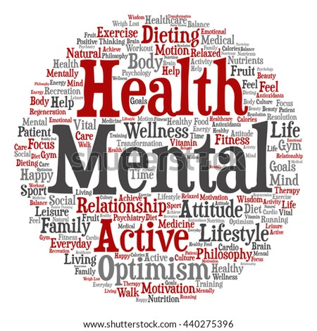 Concept or conceptual mental health or positive thinking square word cloud isolated on background, metaphor to optimism, psychology, mind, healthcare, thinking, attitude, balance or motivation - stock vector