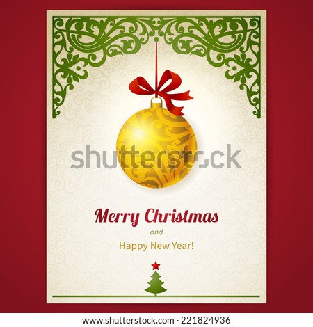 Concept ornate card with Christmas toy, ribbons and place for text. Element for Christmas and New Year's design. Xmas greeting card in Victorian style. Elegant traditional  lacy decor. - stock vector