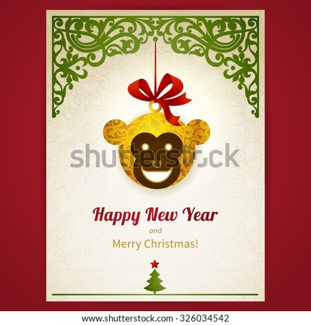 Concept ornate card with Christmas toy, ribbons and place for text. Greeting card with head of Monkey - symbol of 2016. Element for Christmas and New Year's design. Elegant traditional lacy decor. - stock vector