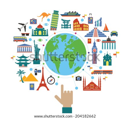 Concept planning a travel. Flat design travel background. The hand of man shows a world map surrounded by icons of travel and landmarks - stock vector