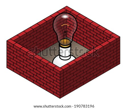 Concept: protected idea. Walls around a light bulb. Copyright. Patent. - stock vector