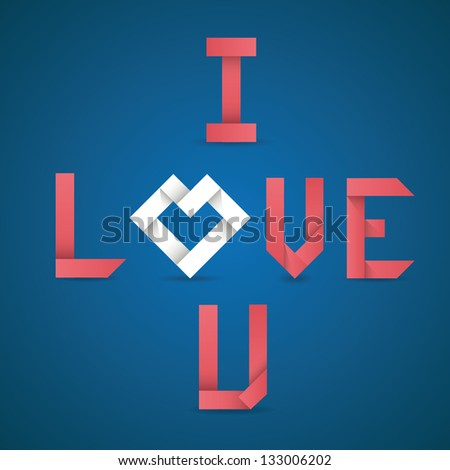 Concept red vector origami letters i love you, recycled paper craft. Vector illustrations - stock vector