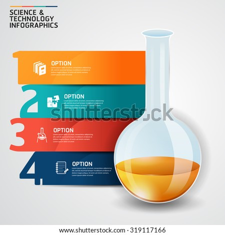 Concept science and education success test tube infographics design template.