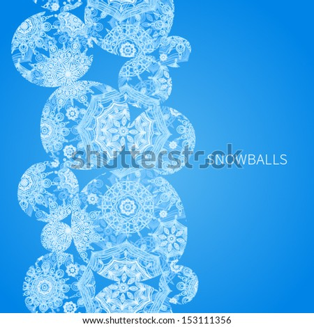 Concept seamless border with snowballs and snowflakes. Place for your text. Blue winter background. It can be used for decorating of invitations, greeting cards, decoration for bags. - stock vector