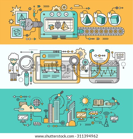 Concept smart innovation technology. 3D printer and seo analytics, infrastructure and smart industry city, system development, management and control illustration. Set of thin, lines flat icons - stock vector