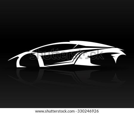 Car Outline Abstract Design Isolated On Stock Vector
