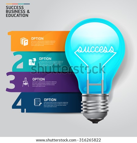 Concept step success business and education light bulb infographics design template.