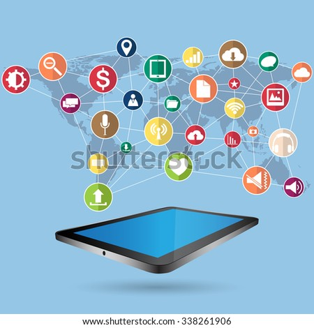 Concept Tablet computer with Web icons, Business icons and Technology icons for technology and business concept, Vector Illustration EPS 10. - stock vector